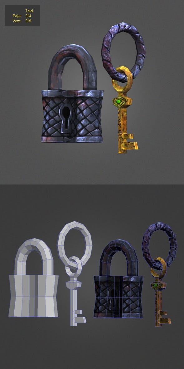 iron padlock low poly - 3DOcean Item for Sale