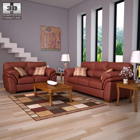 Ashley Hudson - Chianti Sofa & Loveseat 3D models - 3DOcean Item for Sale