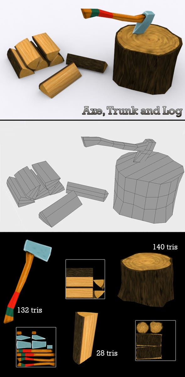 Low Poly Axe, Trunk and Log - 3DOcean Item for Sale