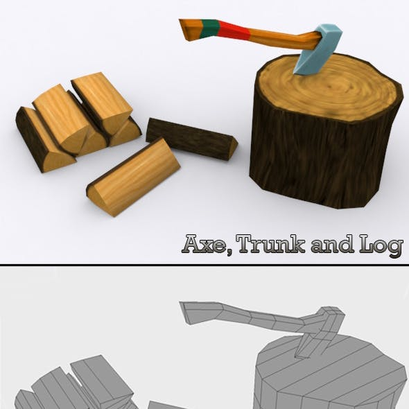 Low Poly Axe, Trunk and Log