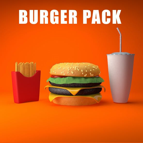 Burger Pack With Chips And Plastic Glass