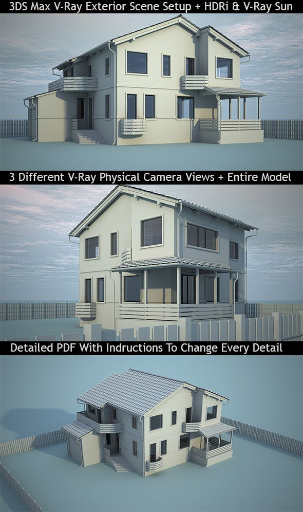 3DS Max V-Ray Realistic Exterior Scene Setup by Paradox