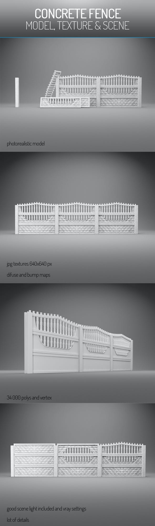Concrete Fence - 3DOcean Item for Sale