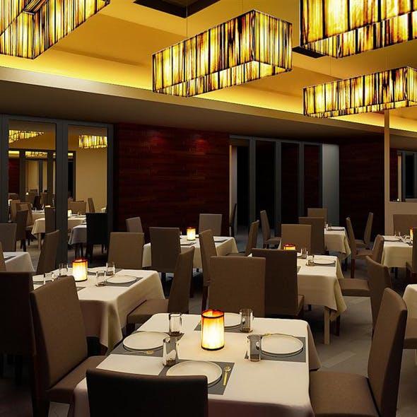 Realistic Restaurant Interior 3D Scene