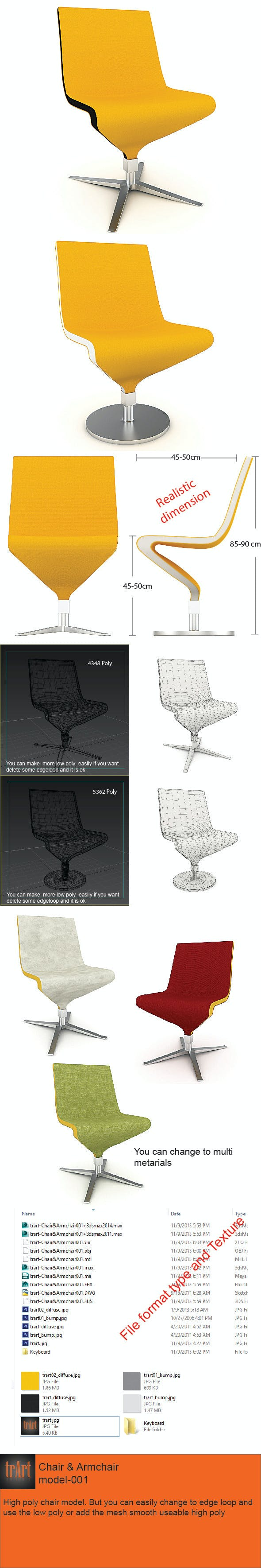 Chair Armchair Realistic model - 3DOcean Item for Sale