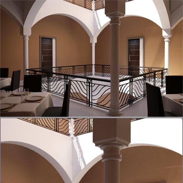 Realistic Restaurant Corridor  Interior 3D model - 3DOcean Item for Sale
