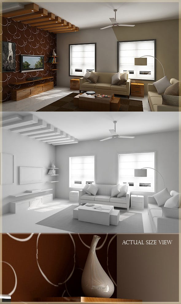 Realistic  Living Room model Rendered in Vray - 3DOcean Item for Sale