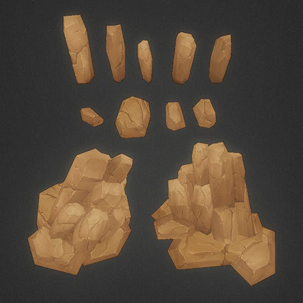 Low Poly Rock Formation 01