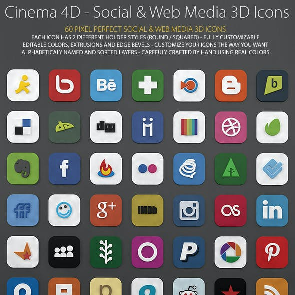 60 Web and Social Media 3D Icons