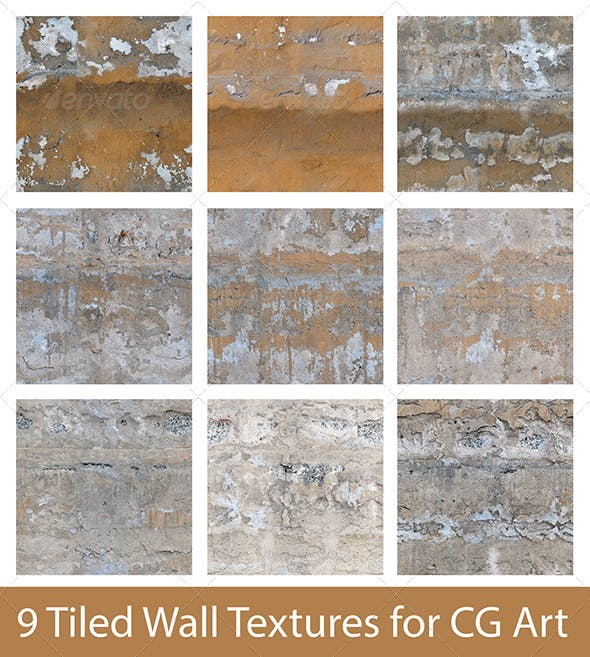 9 Tiled Wall Textures - 3DOcean Item for Sale
