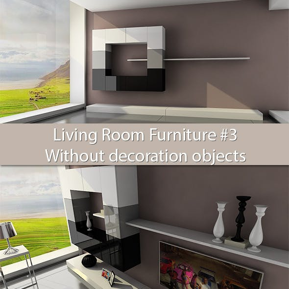 Living Room Furniture #3 (Without deco objects) - 3DOcean Item for Sale