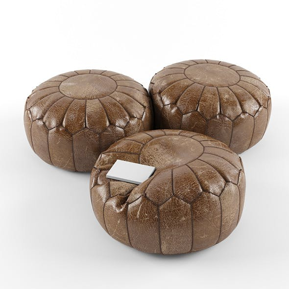 Moroccan leather pouffe - 3DOcean Item for Sale