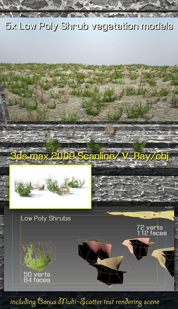 5x Low Poly Shrubs - 3DOcean Item for Sale