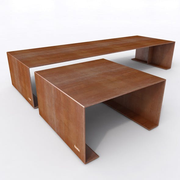 Outdoor Bench and Stool- Escofet MORELLA - 3DOcean Item for Sale