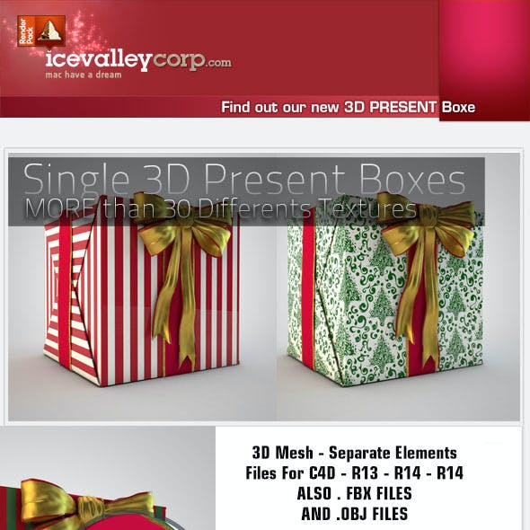 3D Gift Present Box High Quality Mesh