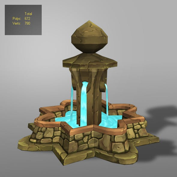fountain low poly_1