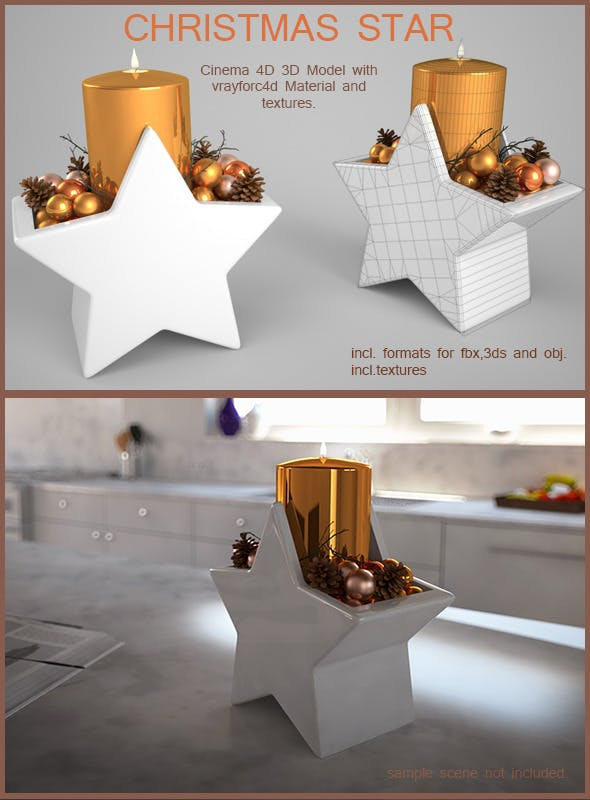 Christmas Candle Star - 3DOcean Item for Sale