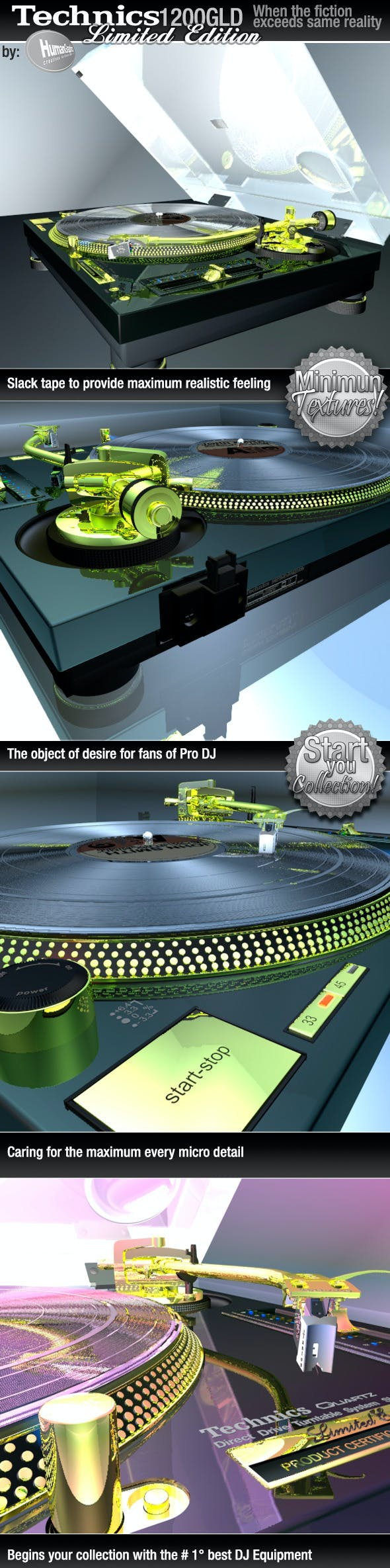 Realistic Turntable Technics SL1200GLD - 3DOcean Item for Sale