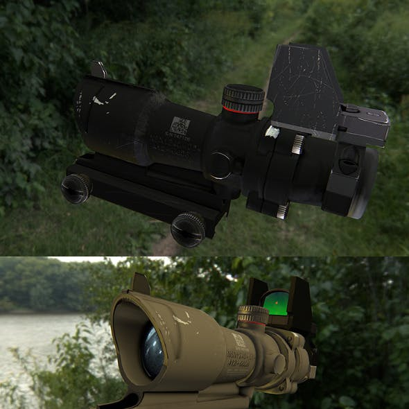 Low poly scope for rifle