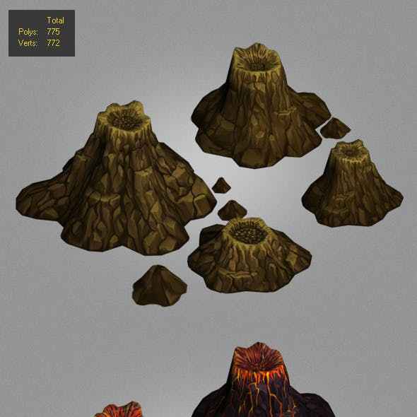 volcanoes low poly