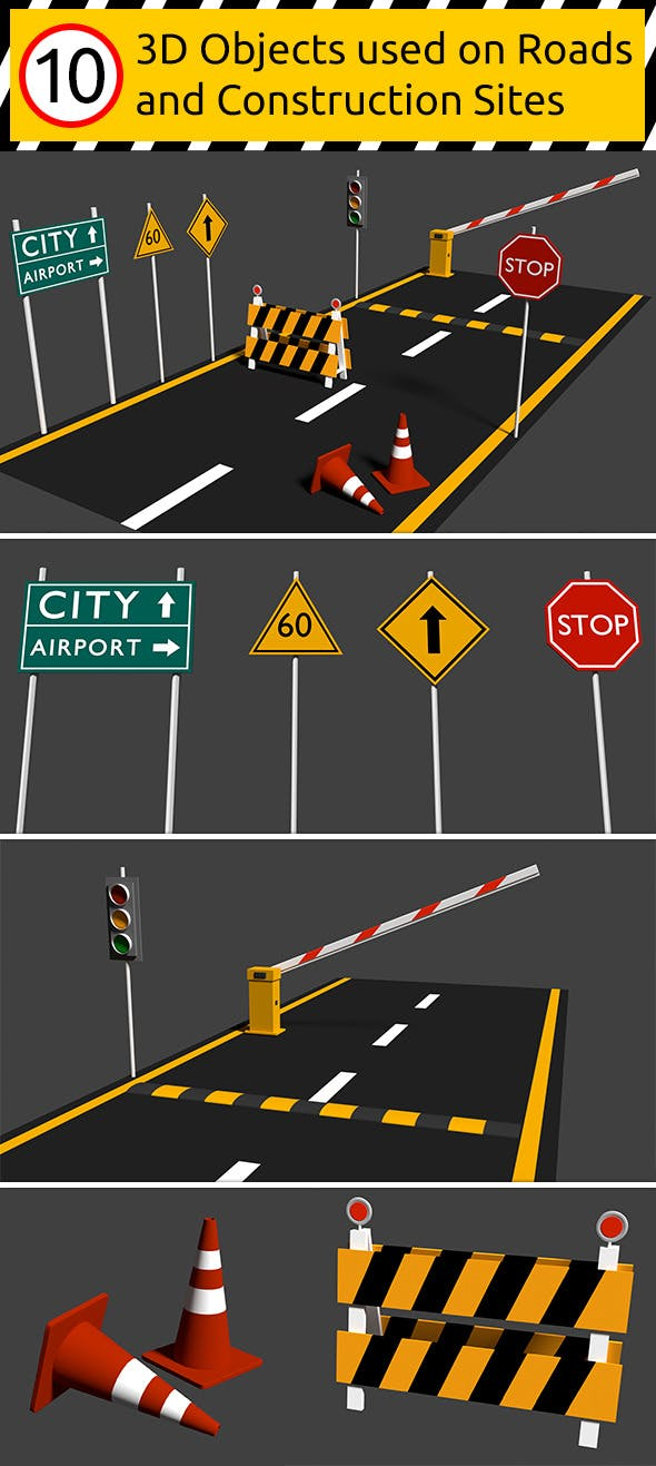 10 Road Signs and Elements Set - 3DOcean Item for Sale