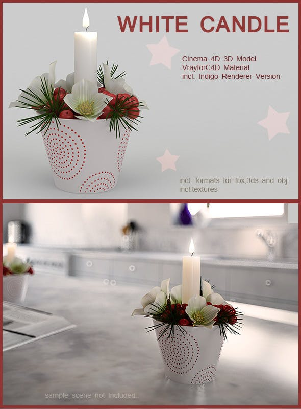 White Christmas Candle - 3DOcean Item for Sale