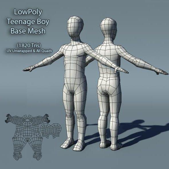 Low Poly Teenage Boy Base Mesh - 3DOcean Item for Sale