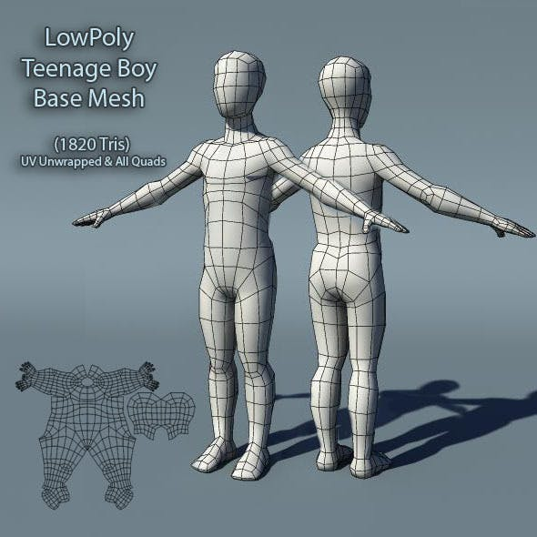 Low Poly Teenage Boy Base Mesh