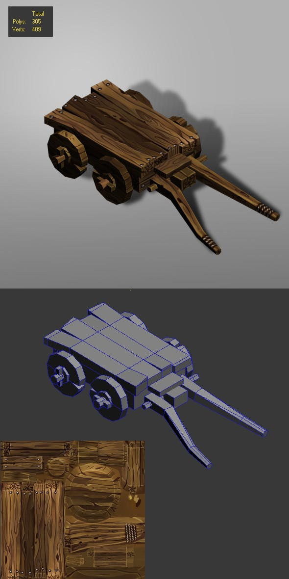 carriage low poly-1 - 3DOcean Item for Sale