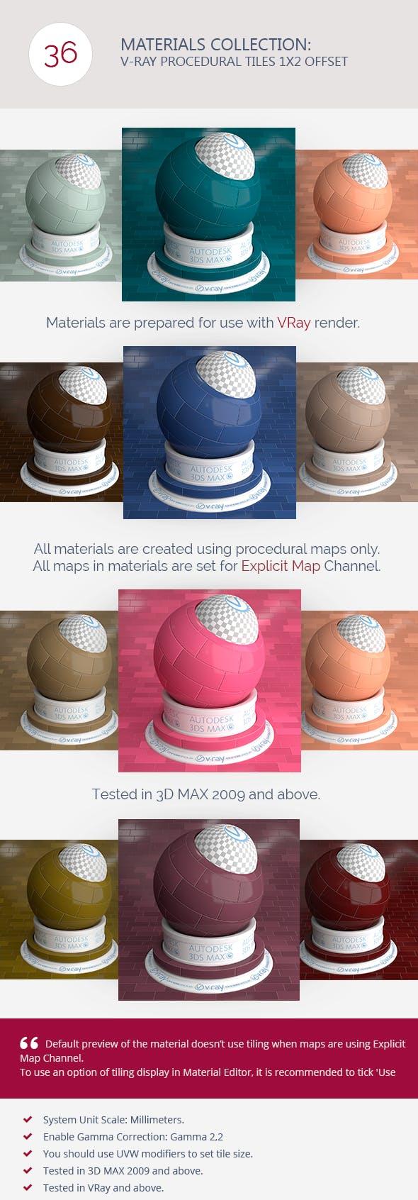 V-Ray Procedural Tiles 1x2 Offset - 3DOcean Item for Sale
