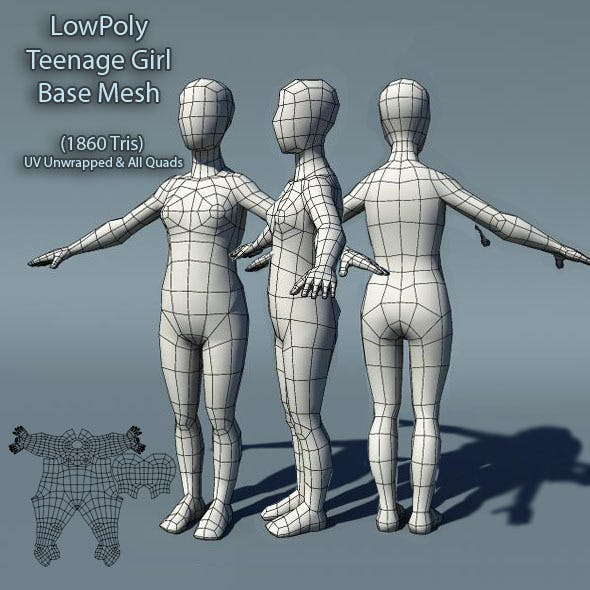 Low Poly Teenage Girl Base Mesh