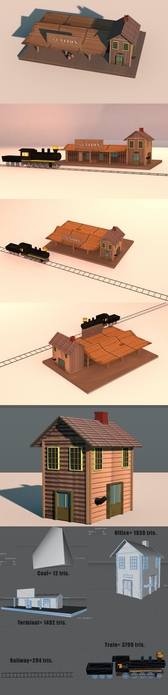Low Poly Wild West Train Station - 3DOcean Item for Sale