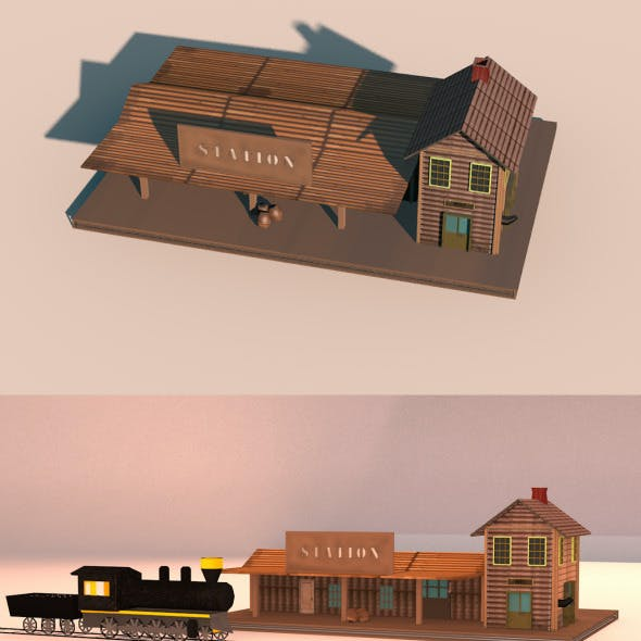 Low Poly Wild West Train Station
