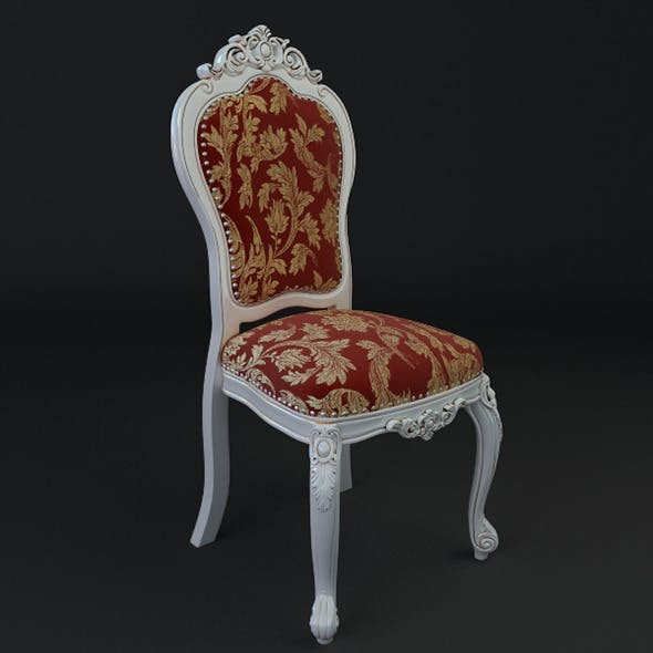 Antique Chair Brocade Armless