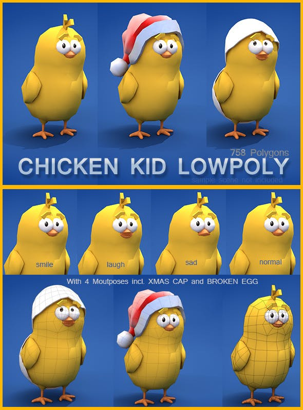 Low Poly Chicken Kid - 3DOcean Item for Sale