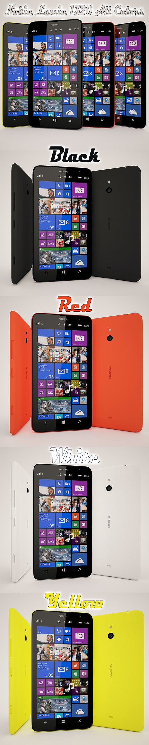 Nokia Lumia 1320 All Color - 3DOcean Item for Sale