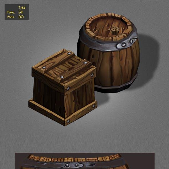Wood Box , Barrels Lowpoly_1