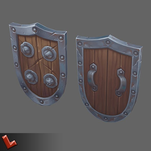 Low poly hand painted shield [Militia 05]