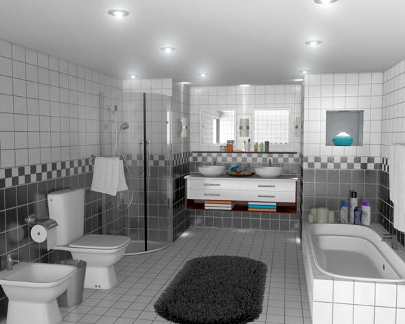 Realistic Bath Room - 3DOcean Item for Sale