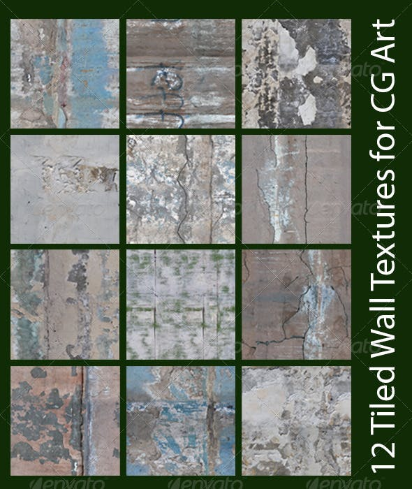 12 Tiled Wall Textures for CG Art - 3DOcean Item for Sale