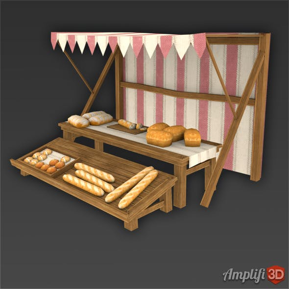 Bread Market Stall with Hand-painted Texture Style - 3DOcean Item for Sale