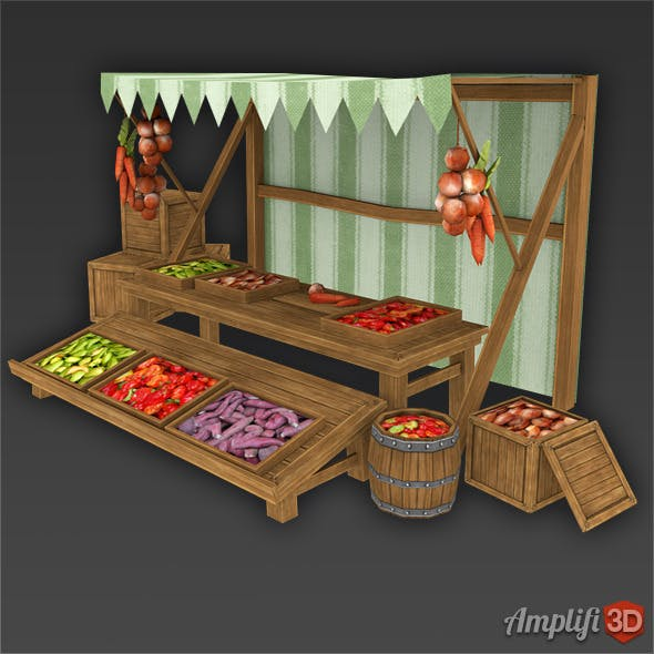 Vegetable Market Stall with Hand-painted Textures