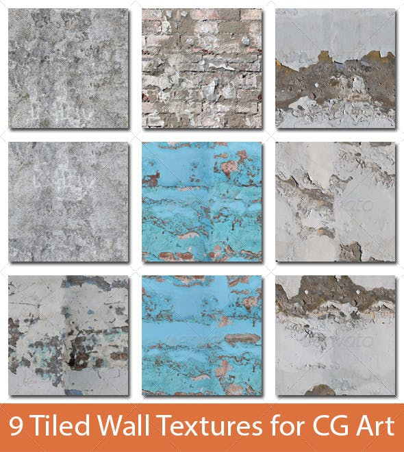 9 Tiled Wall Textures #3 - 3DOcean Item for Sale