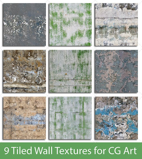 9 Tiled Wall Textures #2 - 3DOcean Item for Sale