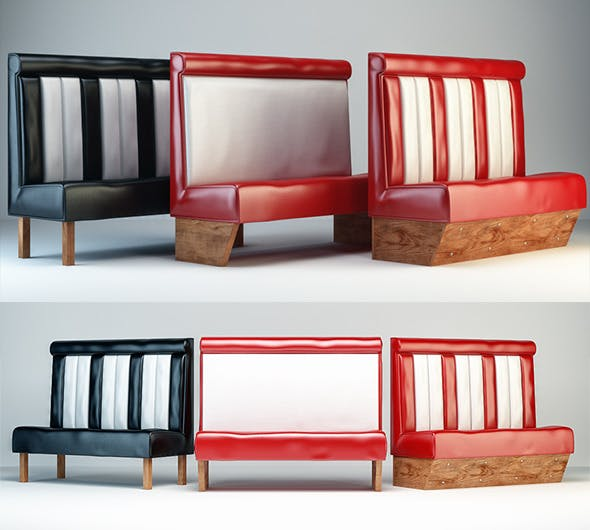 Retro Diner Booth/Bench/Sofa - 3DOcean Item for Sale