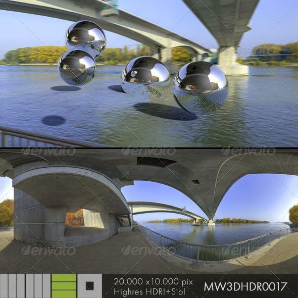 MW3DHDR0017 Rhine River Bridge Worms Gemany