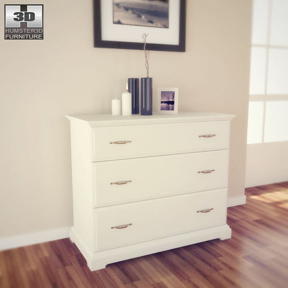 IKEA BIRKELAND Chest of 3 drawers - 3D Model.  - 3DOcean Item for Sale