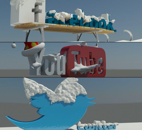 Social Media winter Logos - 3DOcean Item for Sale