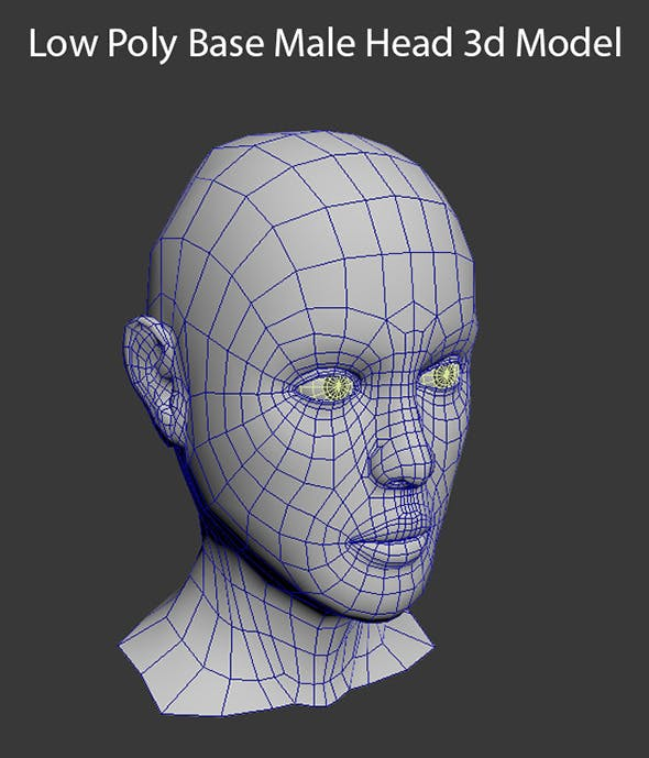 Low Poly Base Male Head - 3DOcean Item for Sale