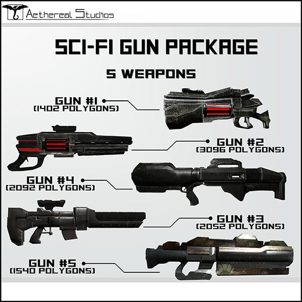 Sci-Fi Gun Weapon Pack - 3DOcean Item for Sale